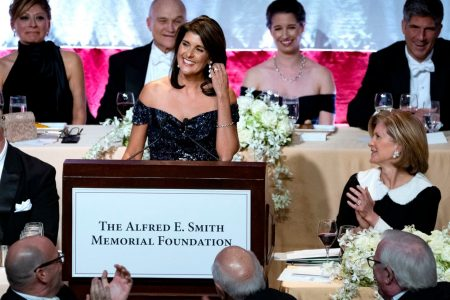 At charity dinner, Nikki Haley takes playful jabs at Trump and other political elites