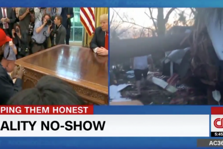 Anderson Cooper splits screen with images of Trump-Kanye meeting and destruction from Michael