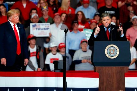 Sean Hannity said he wouldn't campaign on stage at Trump's rally. Hours later, he did exactly that.