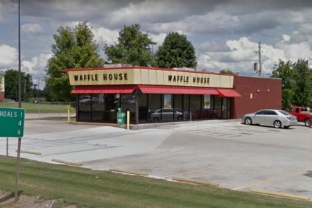 Man falls through Waffle House ceiling, shoves patron in chaotic scene caught on camera