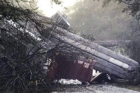 Georgia town evacuates after rail cars fall from overpass