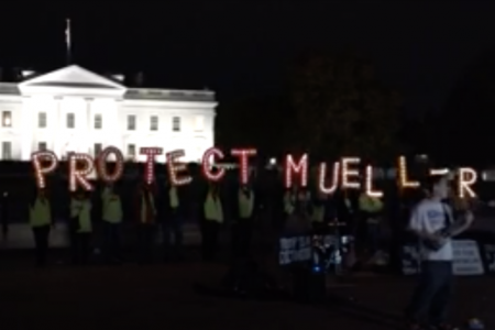 Demonstrators gather outside White House to protest Sessions' ouster