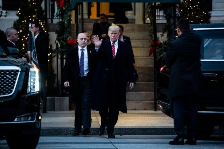 President Trump traveled 250 yards to greet George W. Bush. He used a stretch limo and an eight-vehicle motorcade to make the trip. – The Washington Post