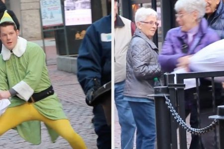 This Guy Dressed As Buddy The Elf Challenged Random Strangers To A Pillow Fight – BuzzFeed
