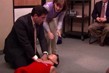 """Man saves woman's life using CPR technique he learned from """"The Office"""" – CBS News"""